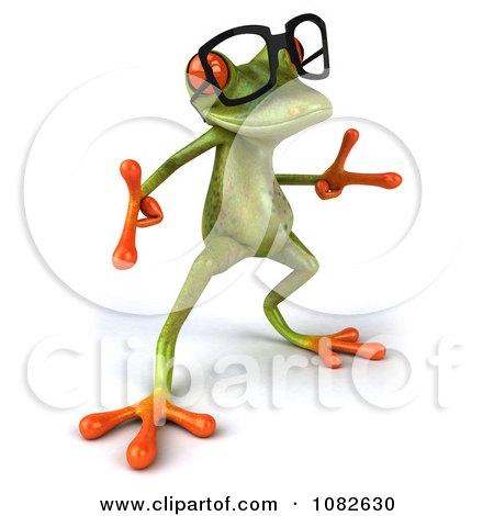 Clipart 3d Dancing Springer Frog Wearing Reading Glasses 4 - Royalty Free CGI Illustration by Julos