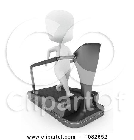 Clipart 3d Ivory Man Running On A Treadmill - Royalty Free CGI Illustration by BNP Design Studio