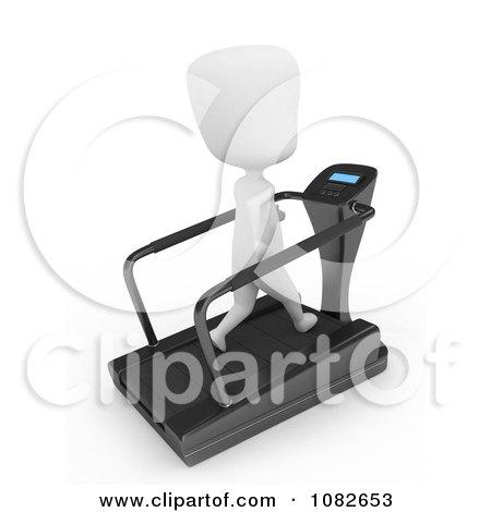 Clipart 3d Ivory Man Jogging On A Treadmill - Royalty Free CGI Illustration by BNP Design Studio