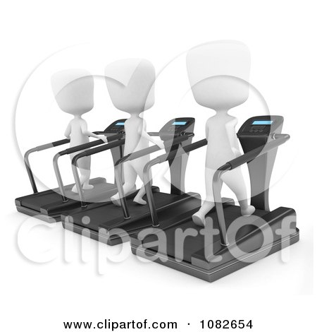 Clipart 3d Ivory Men Running On Treadmills - Royalty Free CGI Illustration by BNP Design Studio
