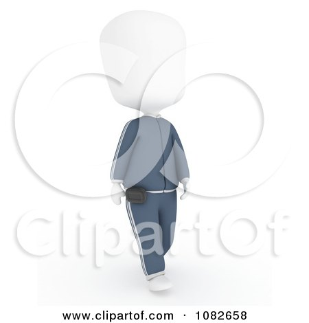 Clipart 3d Ivory Man Walking With A Pedometer - Royalty Free CGI Illustration by BNP Design Studio