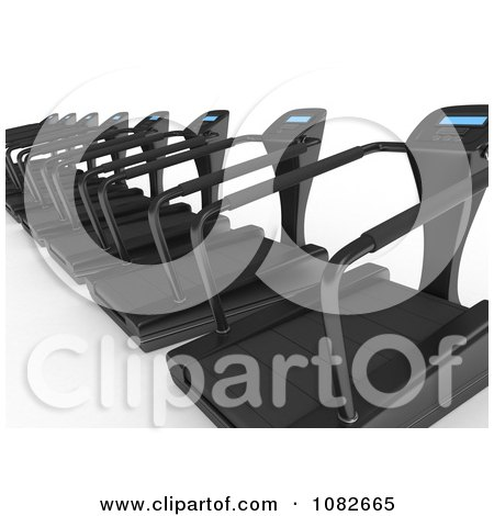 Clipart 3d Treadmills In A Gym - Royalty Free CGI Illustration by BNP Design Studio