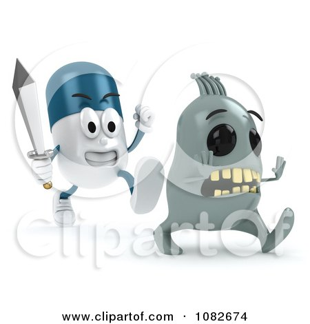 Clipart 3d Pill Character Chasing A Virus With A Sword - Royalty Free CGI Illustration by BNP Design Studio