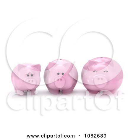 Clipart 3d Skinny To Fat Piggy Bank - Royalty Free CGI Illustration by BNP Design Studio