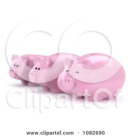 Clipart 3d Happy Fat And Sad Skinny Piggy Banks - Royalty Free CGI Illustration by BNP Design Studio