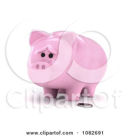 Clipart 3d Sad Skinny Piggy Bank - Royalty Free CGI Illustration by BNP Design Studio