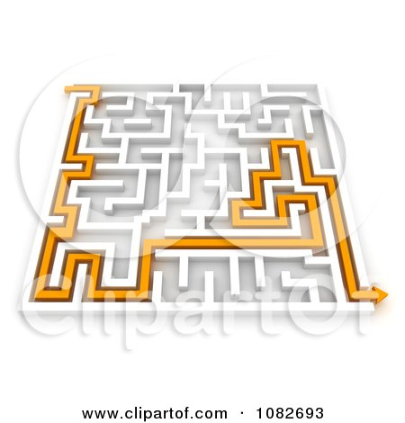 Clipart 3d Orange Arrow Leading Though A Maze - Royalty Free CGI Illustration by BNP Design Studio