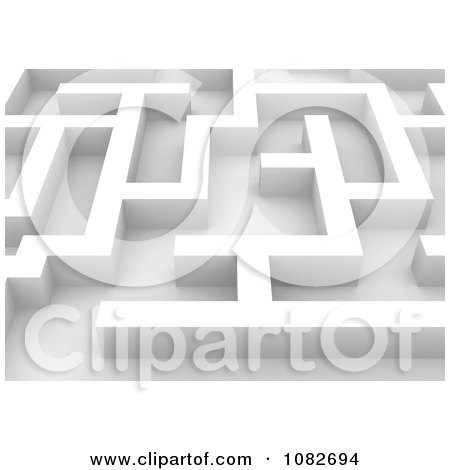 Clipart 3d White Maze Closeup - Royalty Free CGI Illustration by BNP Design Studio