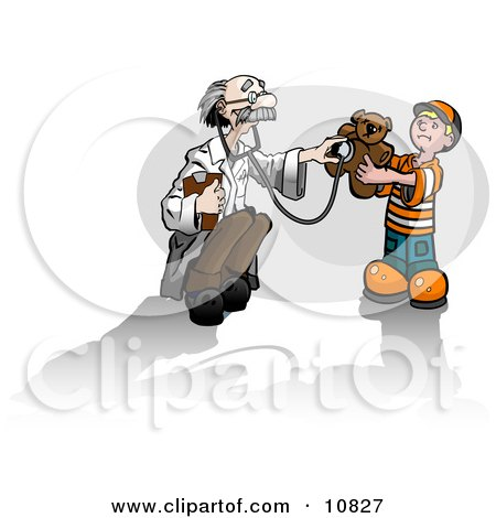 Old Male Doctor Humoring a Cute Little Boy While Holding a Stethoscope up to a Teddy Bear Clipart Illustration by Leo Blanchette