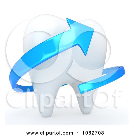 Clipart 3d Human Tooth With A Blue Arrow - Royalty Free CGI Illustration by BNP Design Studio
