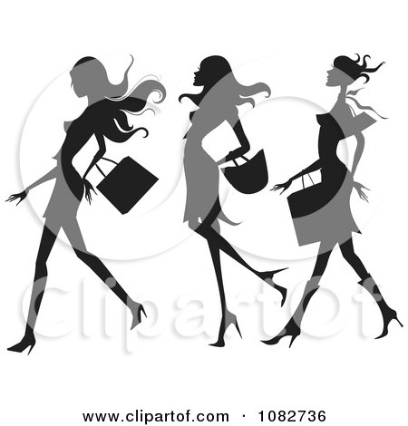 Clipart Trio Of Silhouetted Fashionable Ladies Shopping - Royalty Free Vector Illustration by OnFocusMedia