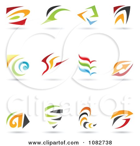 Clipart Abstract Spiral And Swoosh Logos - Royalty Free Vector Illustration by cidepix