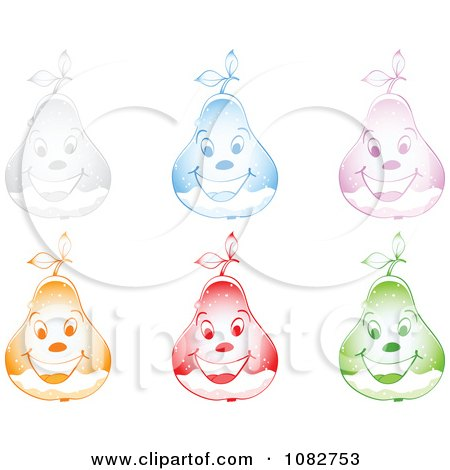 Clipart Colorful Happy Snow Globe Pears - Royalty Free Vector Illustration by Andrei Marincas