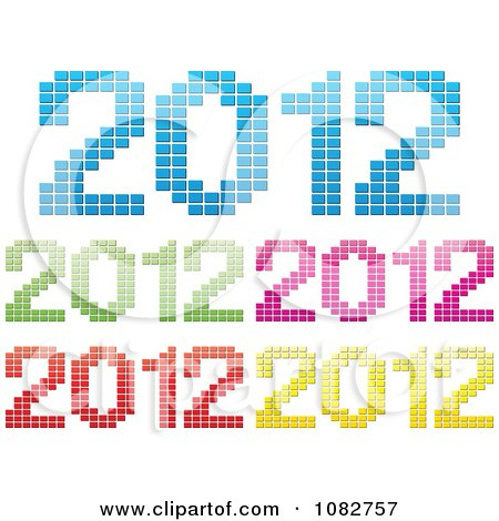 Clipart Colorful 2012 New Year Icons - Royalty Free Vector Illustration by Andrei Marincas