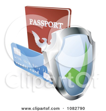 Clipart 3d Security Shield Credit Card And Passport - Royalty Free Vector Illustration by AtStockIllustration
