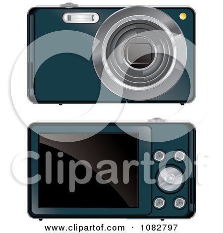 Clipart Teal Digital Camera Shown Front And Back Sides - Royalty Free Vector Illustration by Paulo Resende