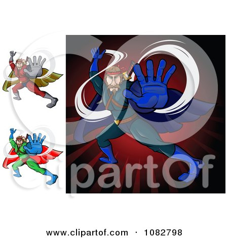Clipart Fighting Super Hero Men - Royalty Free Vector Illustration by Paulo Resende