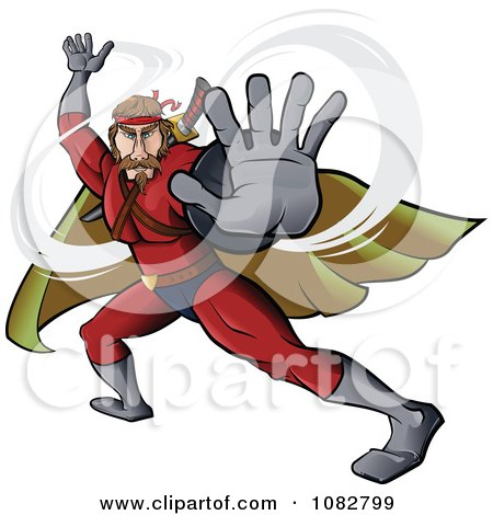 Clipart Fighting Super Hero Man In A Red Suit - Royalty Free Vector Illustration by Paulo Resende
