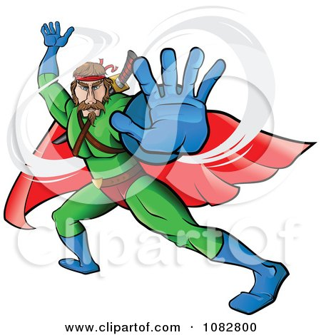 Clipart Fighting Super Hero Man In A Green Suit - Royalty Free Vector Illustration by Paulo Resende