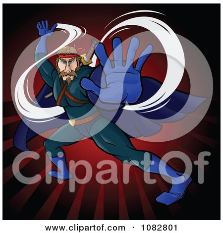 Clipart Fighting Super Hero Man In A Blue Suit Over Red Rays - Royalty Free Vector Illustration by Paulo Resende
