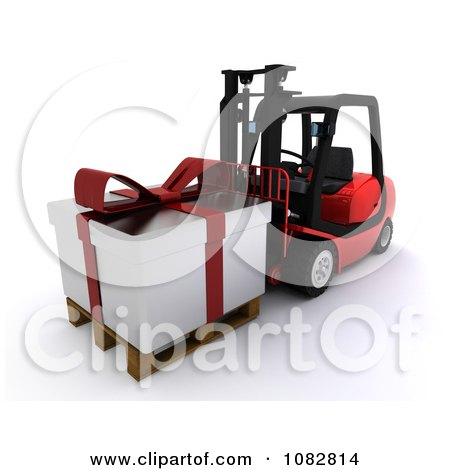 Clipart 3d Forklift Moving A Huge Christmas Gift - Royalty Free CGI Illustration by KJ Pargeter