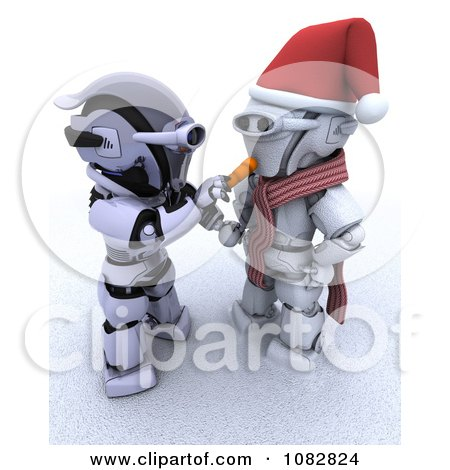 Clipart 3d Robot Making A Robotic Snowman - Royalty Free CGI Illustration by KJ Pargeter