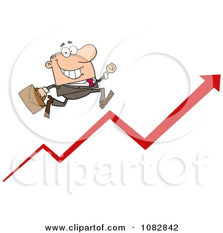 Clipart Caucasian Business Man Running Up An Arrow - Royalty Free Vector Illustration by Hit Toon