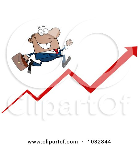 Clipart Black Businessman Running Up An Arrow - Royalty Free Vector Illustration by Hit Toon