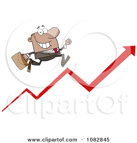 Clipart Hispanic Businessman Running Up An Arrow - Royalty Free Vector Illustration by Hit Toon