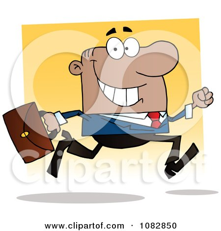 Clipart African American Businessman On The Run With His Briefcase - Royalty Free Vector Illustration by Hit Toon
