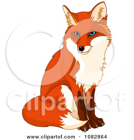 Clipart Sitting Handsome Fox Royalty Free Vector Illustration
