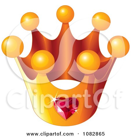 Clipart Golden Crown With A Ruby Heart - Royalty Free Vector Illustration by Pushkin