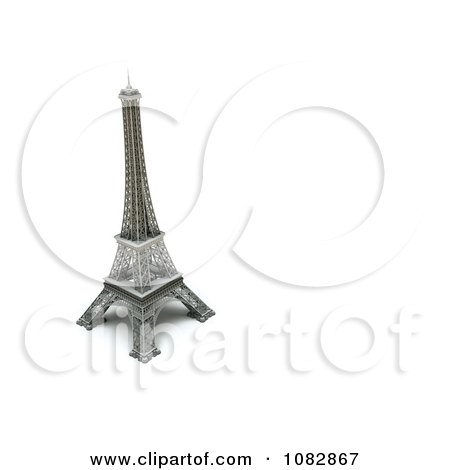 Clipart 3d Eiffel Tower Statue With Copyspace To The Right - Royalty Free CGI Illustration by chrisroll