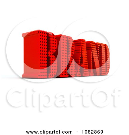 Clipart 3d Red Brand Word With Holes - Royalty Free CGI Illustration by MacX