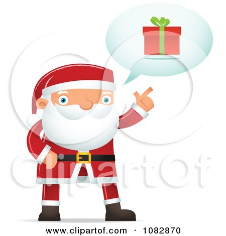 Clipart Santa Discussing A Gift - Royalty Free Vector Illustration by Qiun