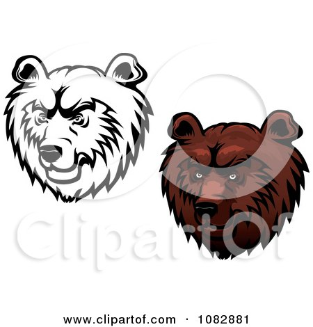 Clipart Black And White And Brown Kodiak Bear Faces - Royalty Free Vector Illustration by Vector Tradition SM