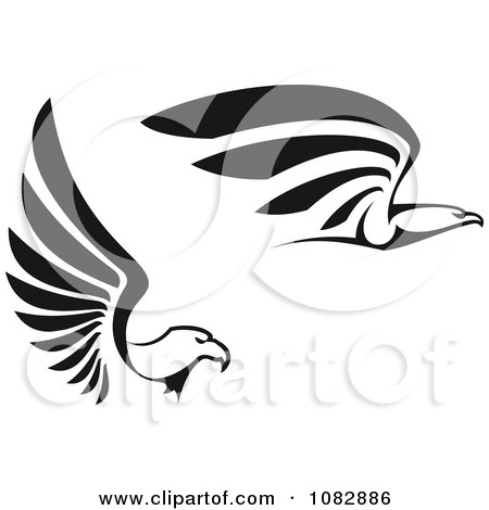 Clipart Black And White Flying Eagles In Profile - Royalty Free Vector Illustration by Vector Tradition SM