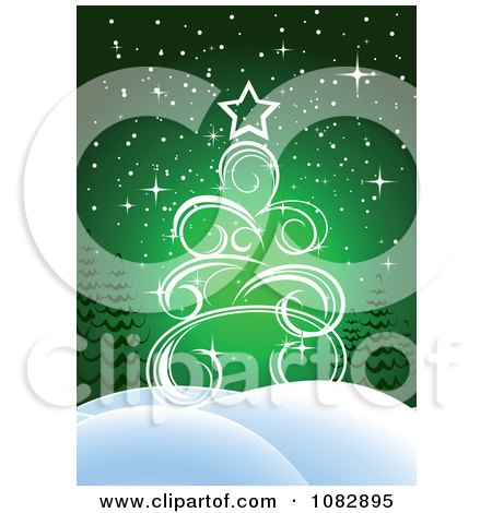 Clipart Green Christmas Tree Background With Snowy Hills - Royalty Free Vector Illustration by Vector Tradition SM