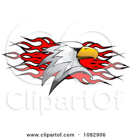 Clipart Bald Eagle Head Over Red Flames - Royalty Free Vector Illustration by Vector Tradition SM