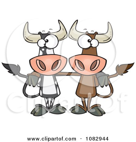 Clipart Bull Cow Buddies - Royalty Free Vector Illustration by toonaday