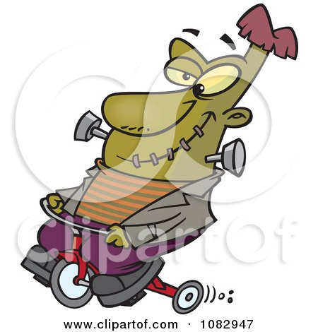 Clipart Frankenstein On A Trike - Royalty Free Vector Illustration by toonaday