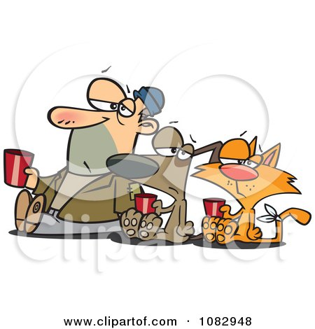 Clipart Man Dog And Ginger Cat Begging For Money - Royalty Free Vector Illustration by toonaday