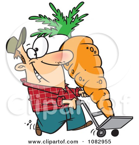 Clipart Farmer With A Big Carrot On A Dolly - Royalty Free Vector Illustration by toonaday