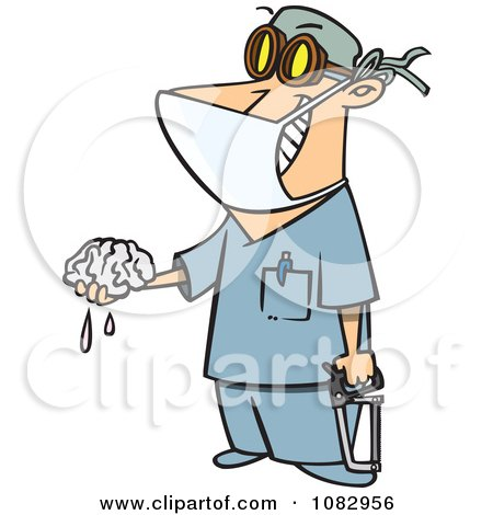 Clipart Surgeon Holding A Saw And Brain - Royalty Free Vector Illustration by toonaday