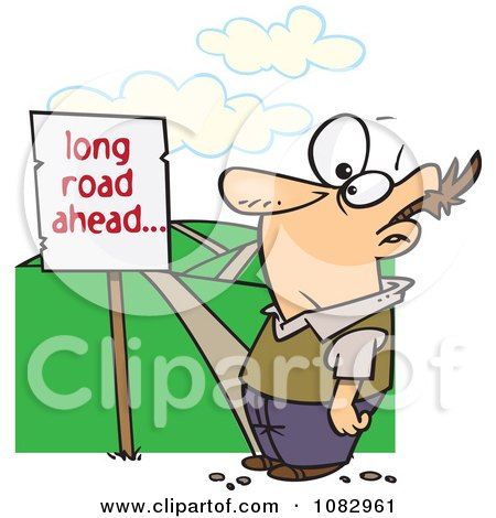 clipart man facing a long road ahead sign and a hilly path