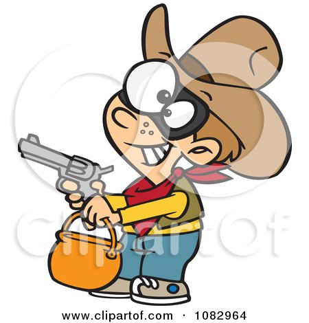 Clipart Cowboy Halloween Trick Or Treater Holding His Gun Out - Royalty Free Vector Illustration by toonaday