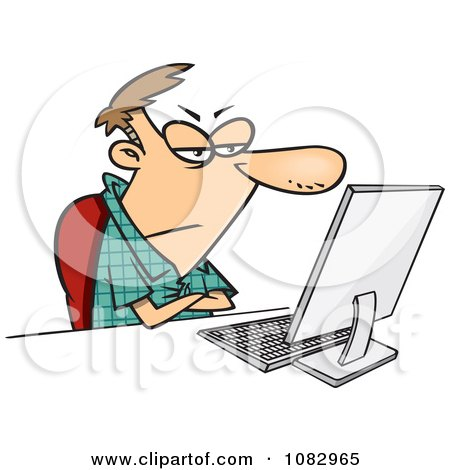 Clipart Grumpy Man Sitting At His Computer - Royalty Free Vector Illustration by toonaday