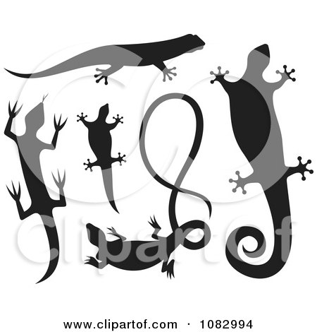 Clipart Black Lizard Silhouettes - Royalty Free Vector Illustration by Any Vector