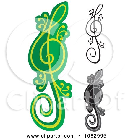 Clipart Green And Black Lizard Treble Clef Notes - Royalty Free Vector Illustration by Any Vector