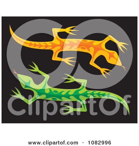 Clipart Orange And Green Lizards On Black - Royalty Free Vector Illustration by Any Vector